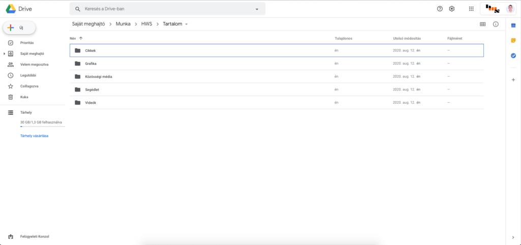 Google Drive képernyőkép