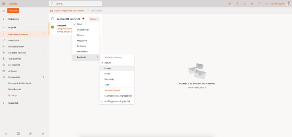 Outlook képernyőkép